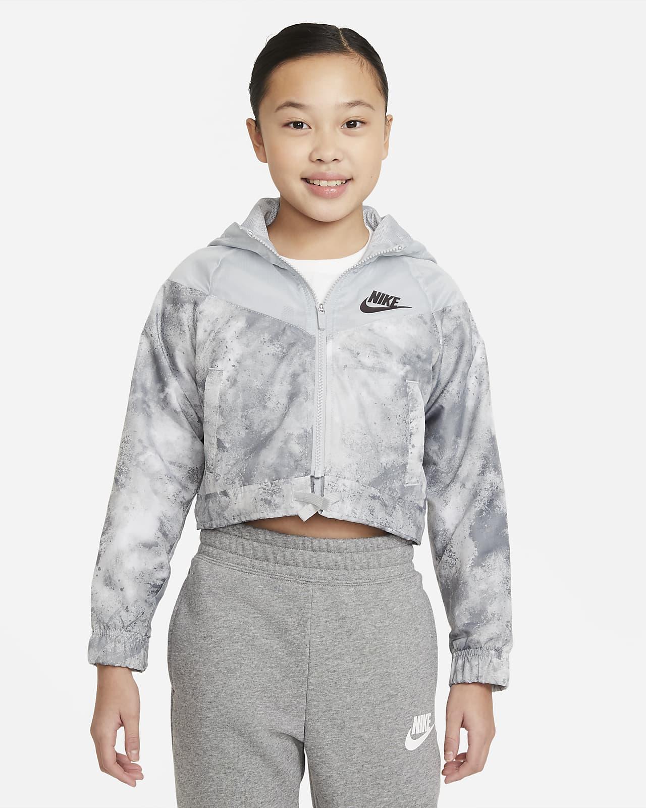 Nike Sportswear Windrunner Batik Boyalı Baskılı Genç Çocuk (Kız) Ceketi