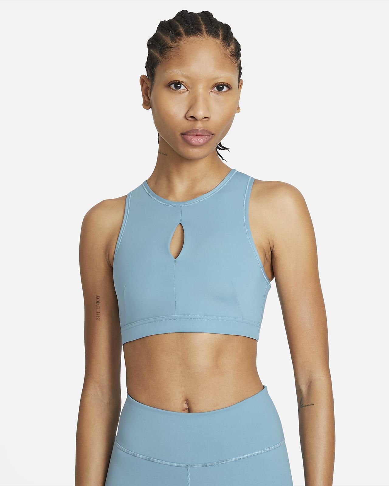 Bra deportivo de cuello alto sin almohadilla de media sujeción para mujer Nike Yoga Dri-FIT Swoosh