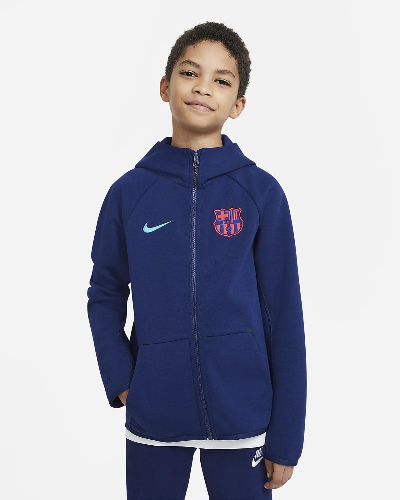 Fotbollshuvtröja FC Barcelona Tech Fleece med hel dragkedja för ungdom