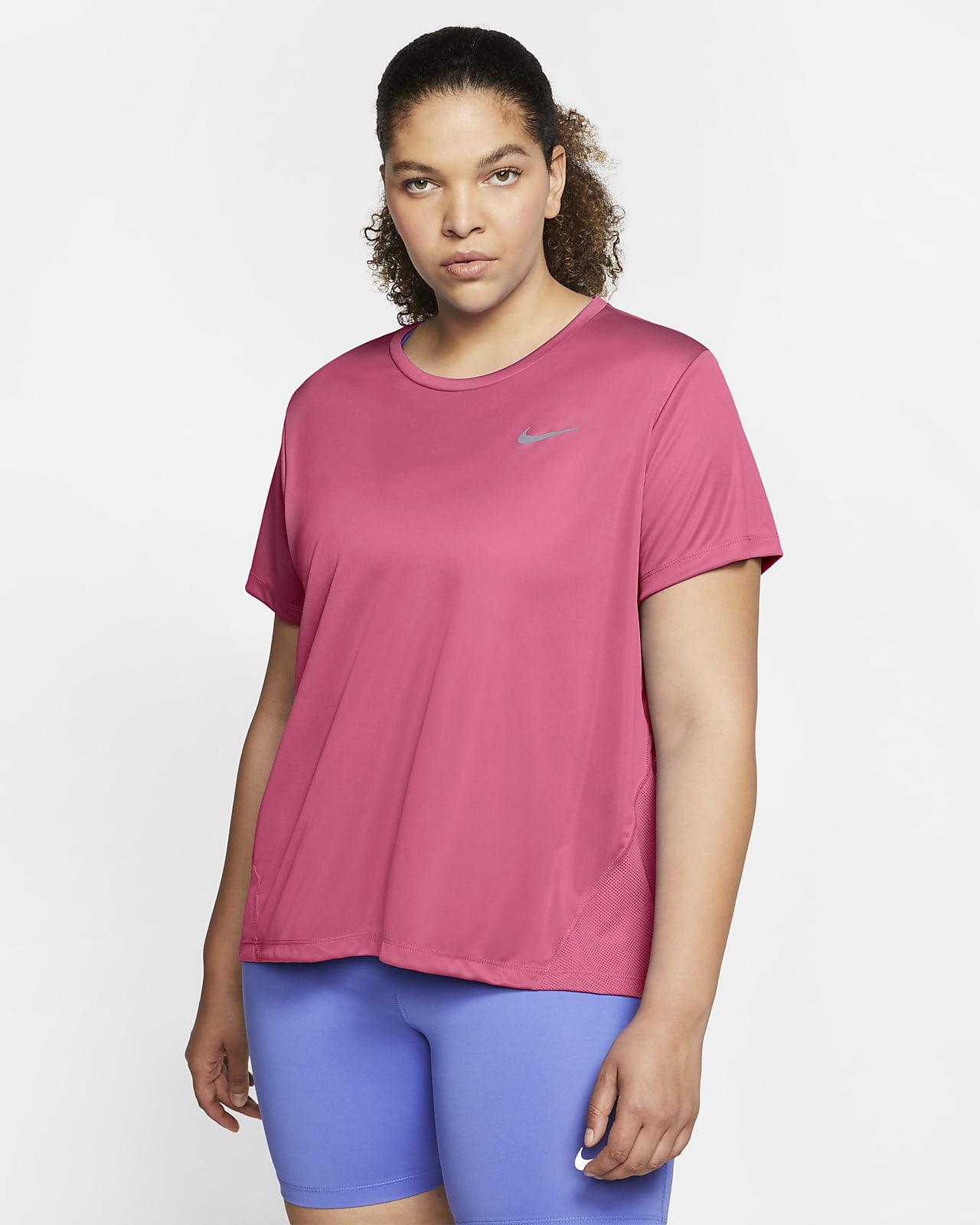 Γυναικεία κοντομάνικη μπλούζα για τρέξιμο Nike Miler (μεγάλα μεγέθη)