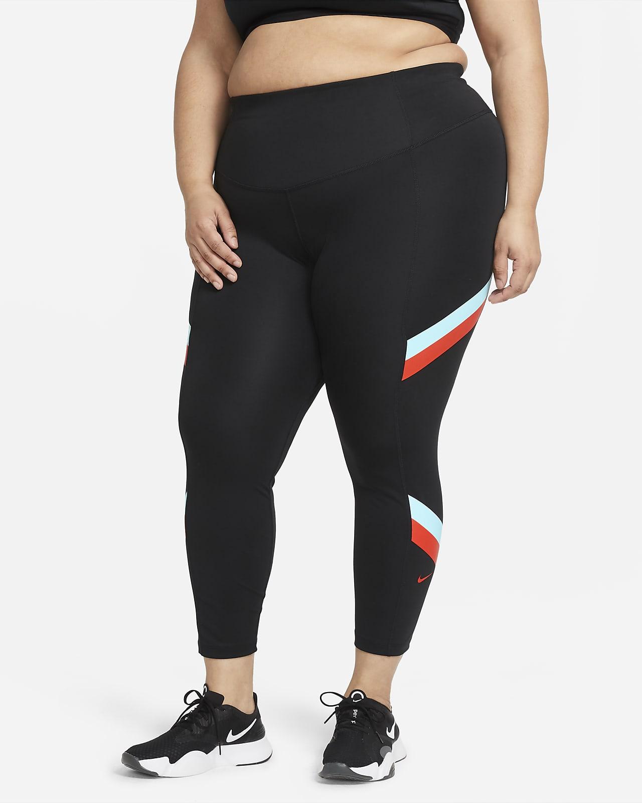 Leggings i 7/8-längd Nike One med mellanhög midja och färgblock för kvinnor (Plus Size)