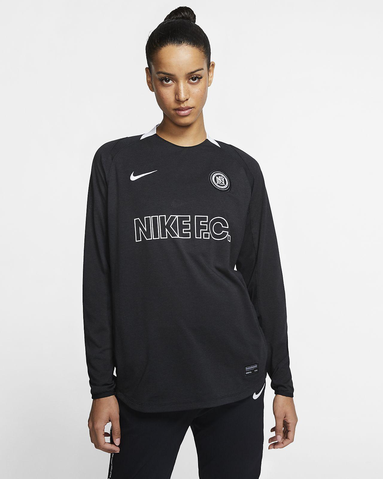 Langærmet Nike F.C. fodboldtrøje til kvinder