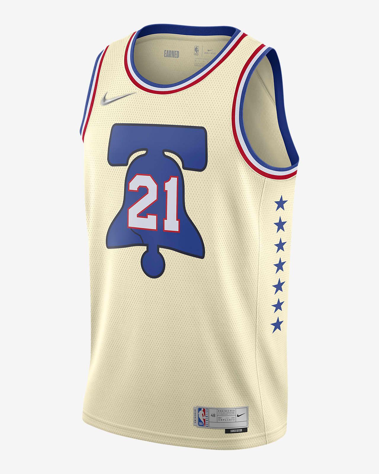Joel Embiid 76ers Earned Edition Men's Nike NBA Swingman Jersey