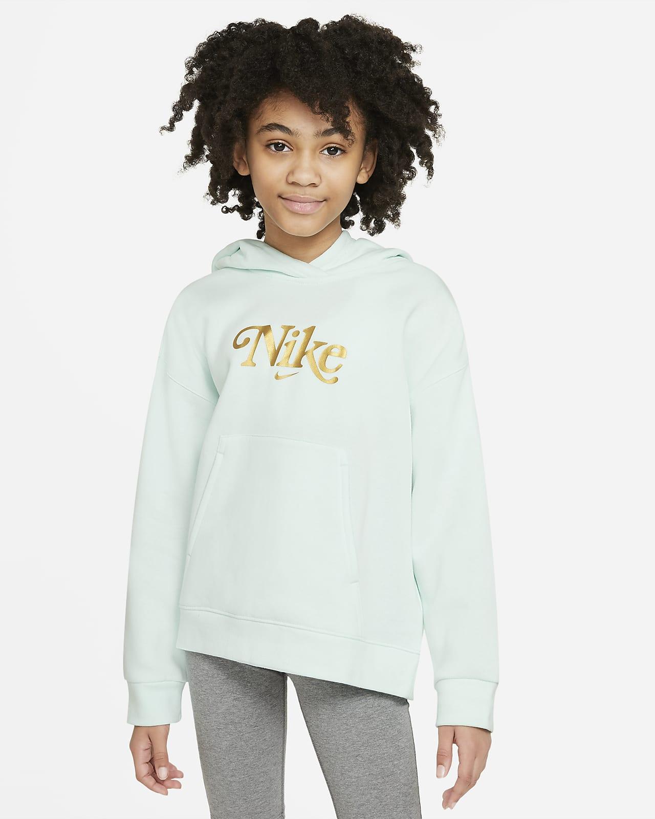 Nike Sportswear Club Fleece hettegenser til store barn (jente)