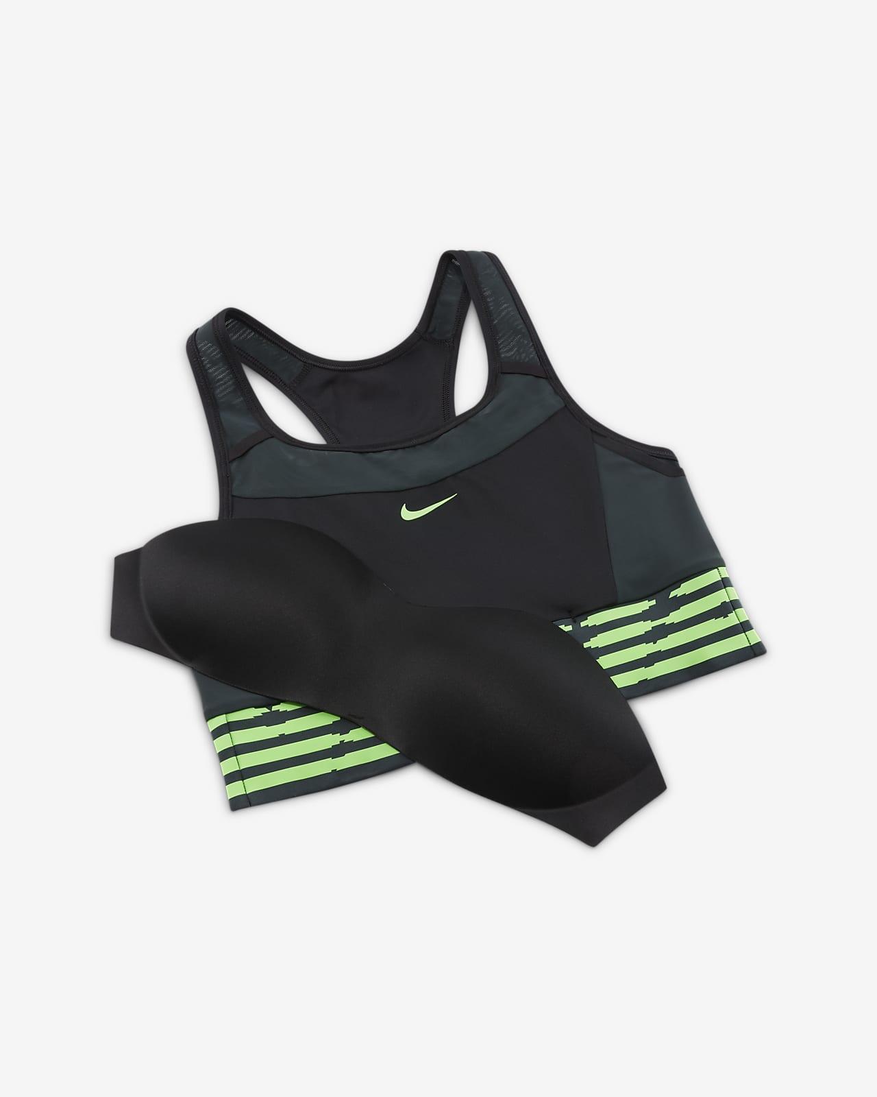 Dámská sportovní podprsenka Nike Swoosh se střední oporou, jednodílnou vycpávkou akapsami