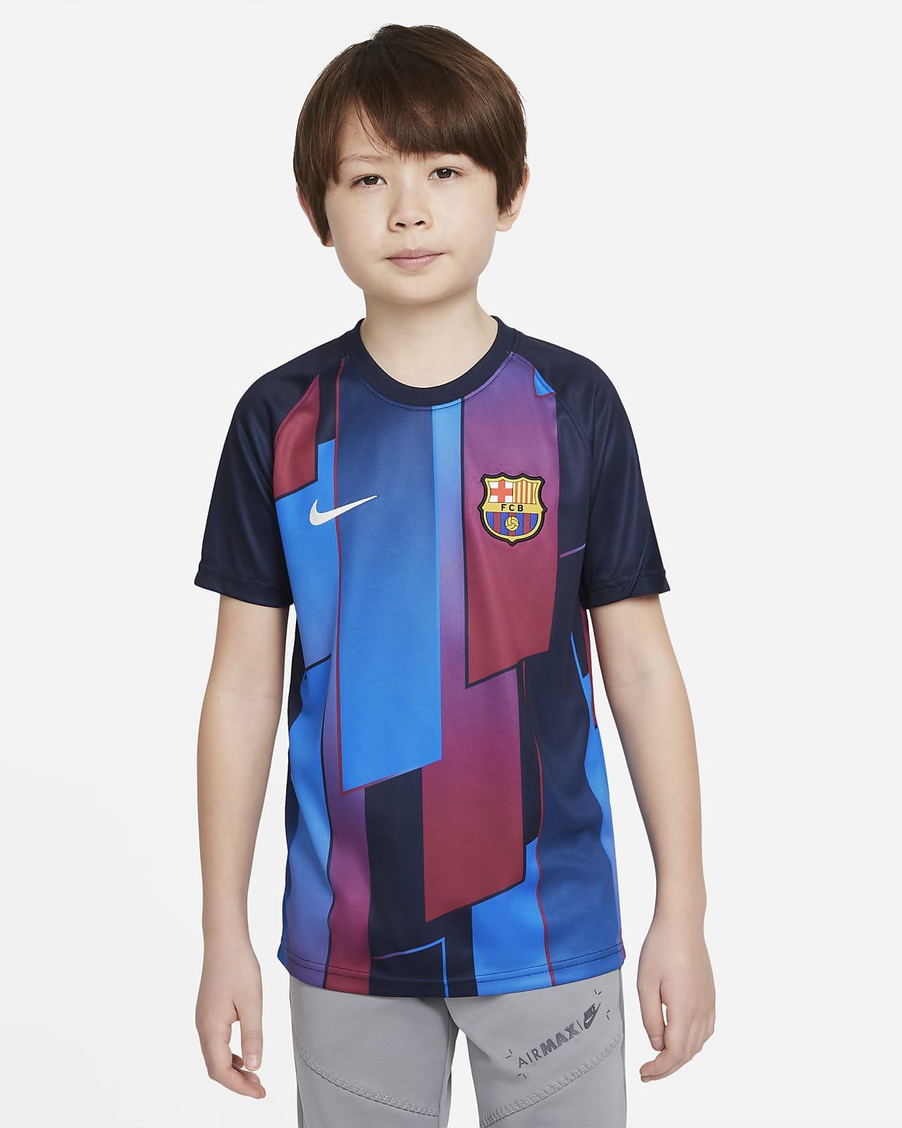 FC Barcelona Big Kids' Pre-Match Short-Sleeve Soccer Top