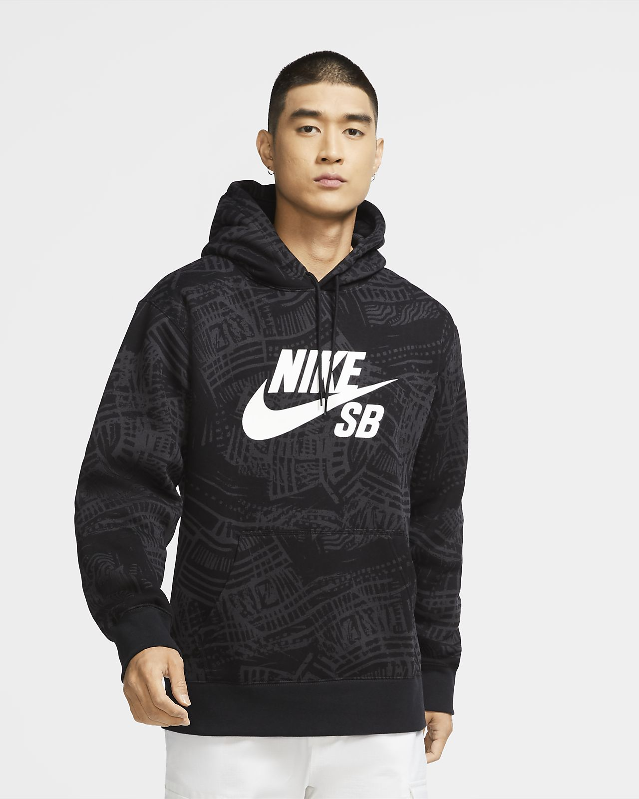 Nike SB Baskılı Kapüşonlu Erkek Kaykay Üstü