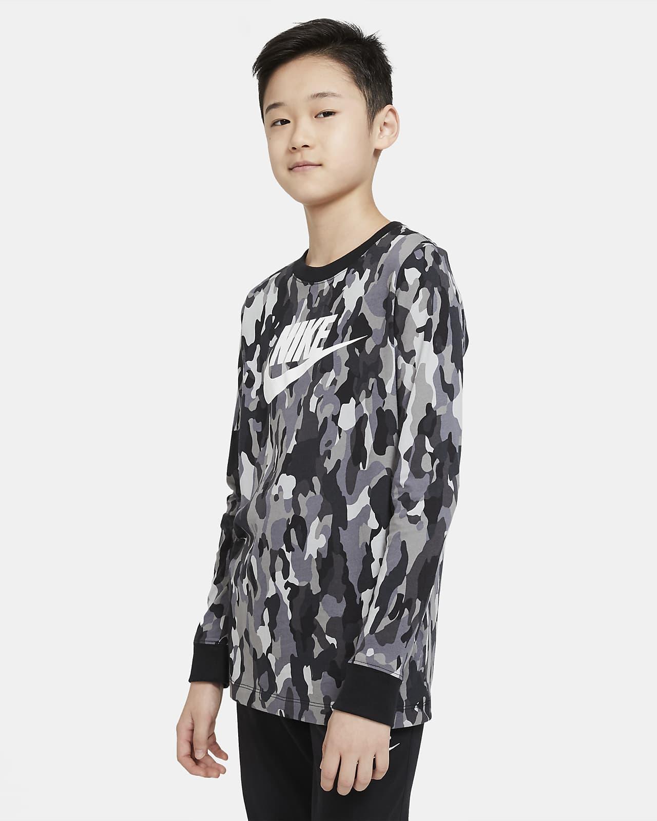 Nike Sportswear Older Kids' (Boys') Printed Long-Sleeve T-Shirt