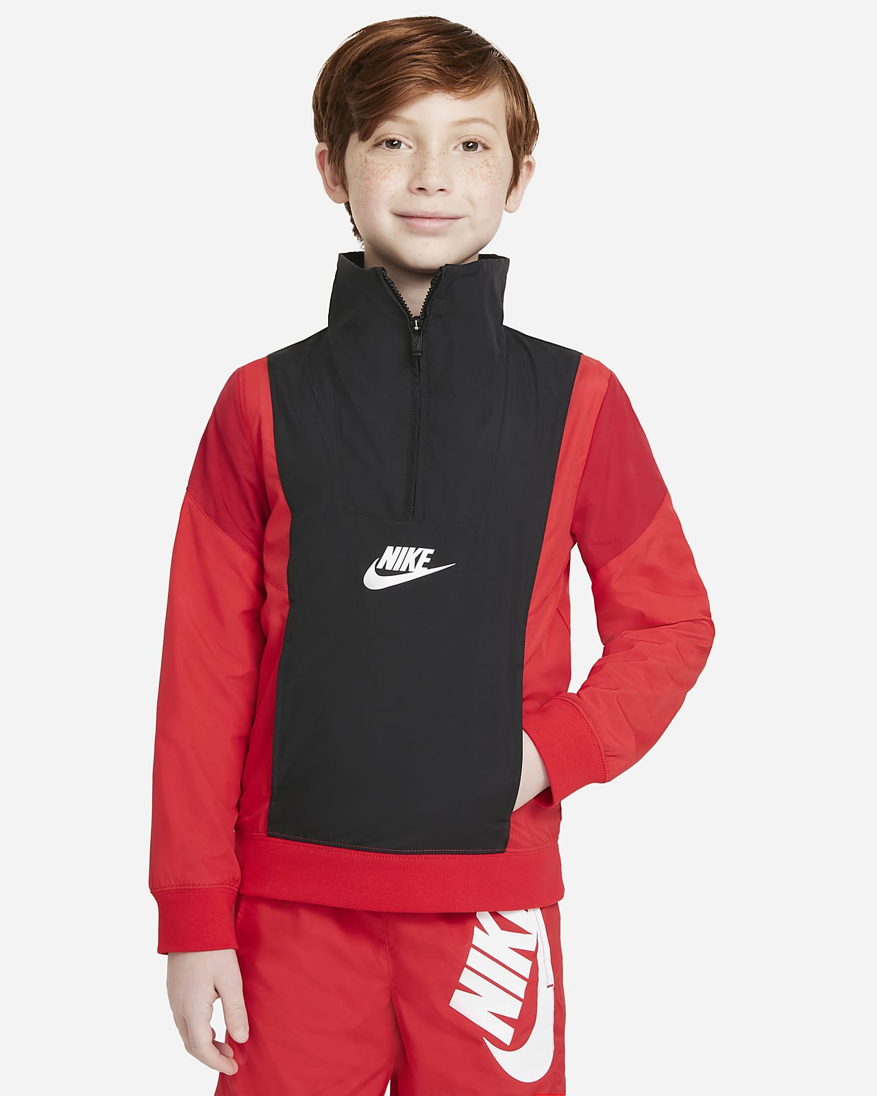 Prenda para la parte superior de tejido Woven de medio cierre para niño talla grande Nike Sportswear Amplify