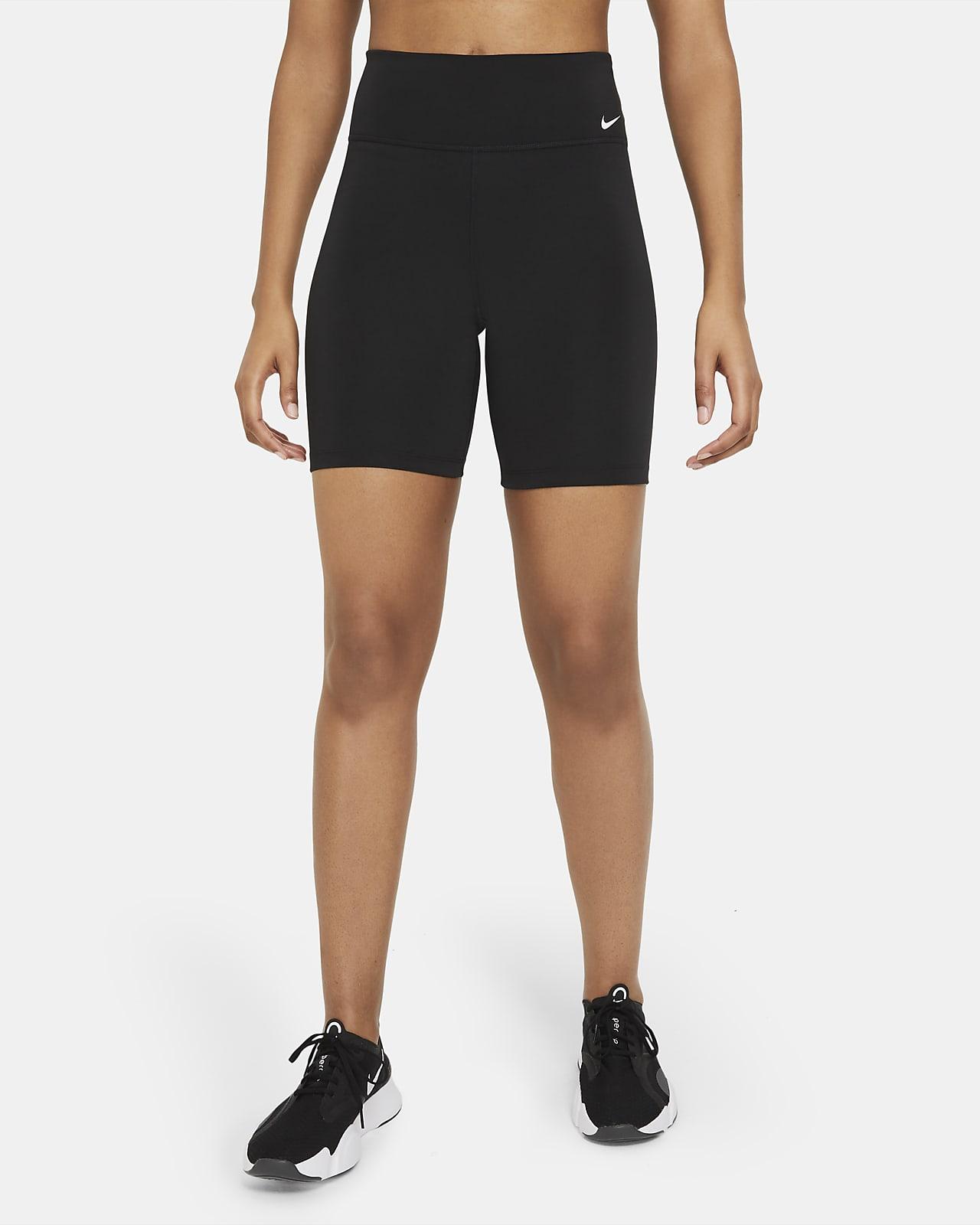 Nike One sykkelshorts med mellomhøyt liv til dame (18 cm)