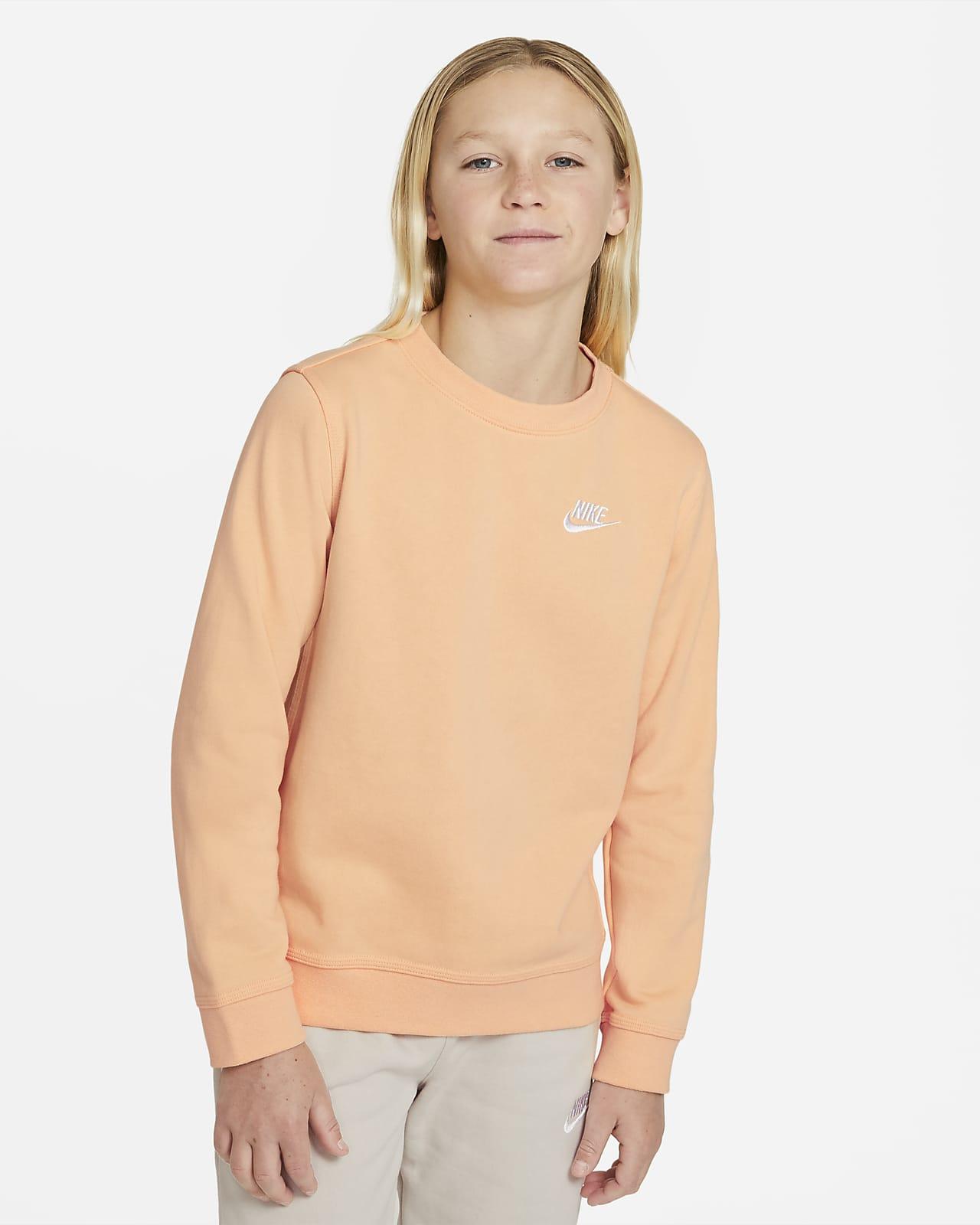 Nike Sportswear Swoosh francia frottír kerek nyakkivágású pulóver nagyobb gyerekeknek (fiúknak)