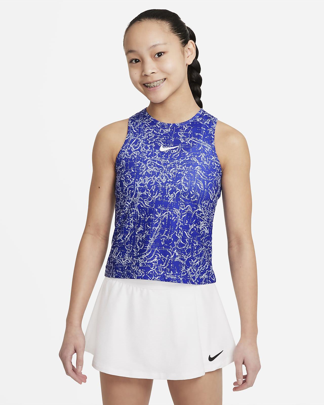 Koszulka bez rękawów do tenisa z nadrukiem dla dużych dzieci (dziewcząt) NikeCourt Dri-FIT Victory