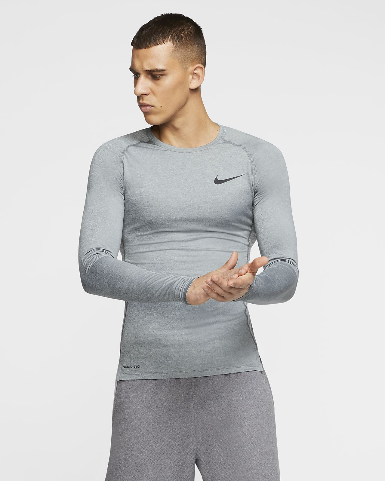 Nike Pro Herentop met lange mouwen en strakke pasvorm