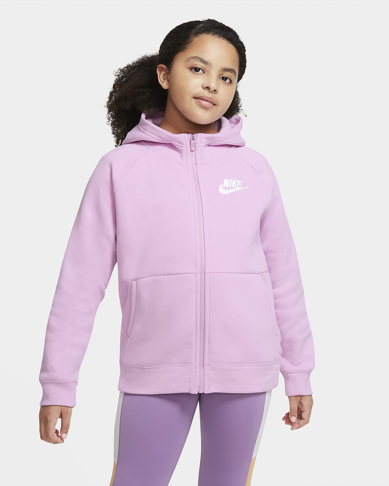 Nike Sportswear Big Kids' (Girls') Full-Zip Hoodie (Extended Size)