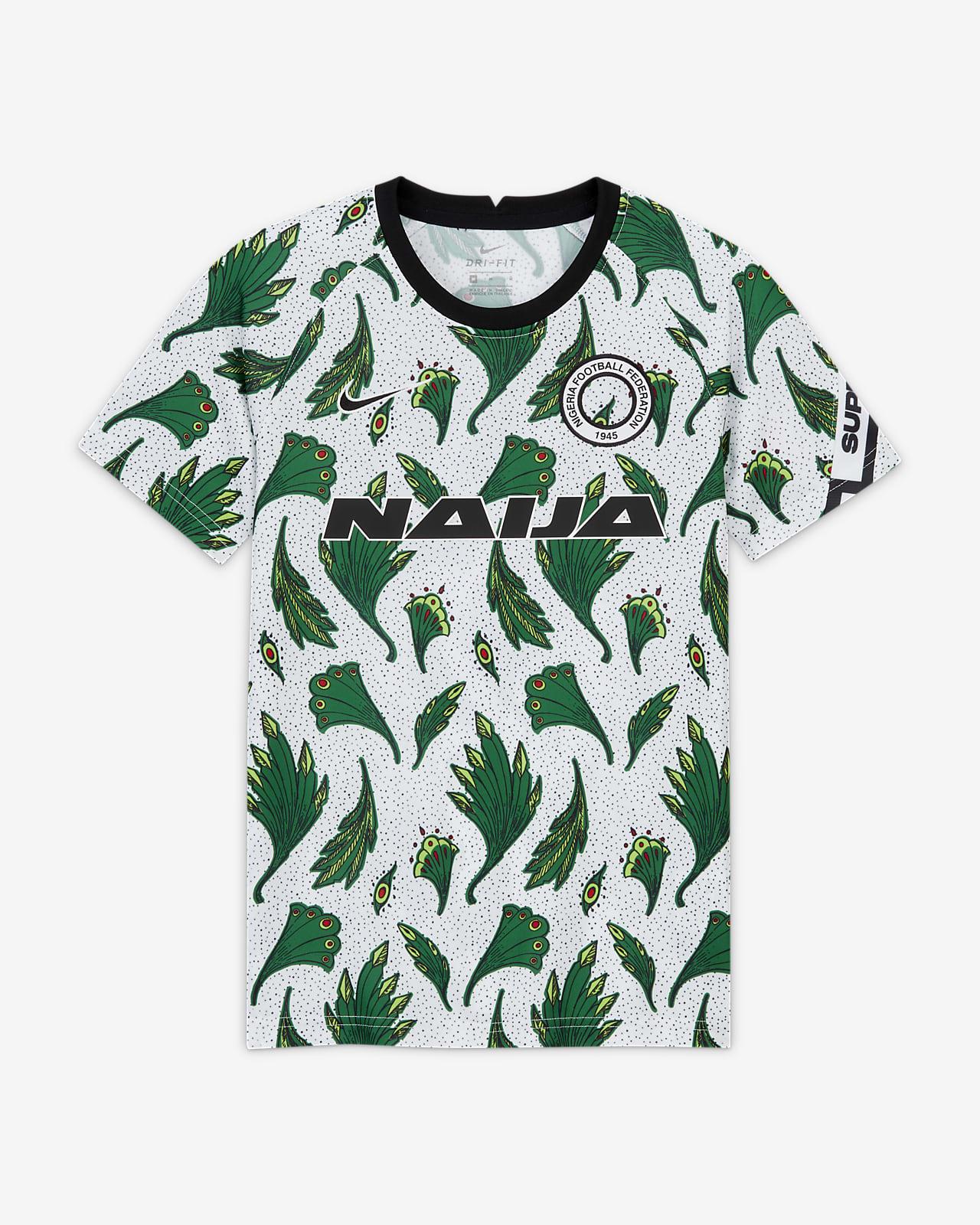 Kortærmet Nigeria Pre-Match-fodboldtrøje til store børn