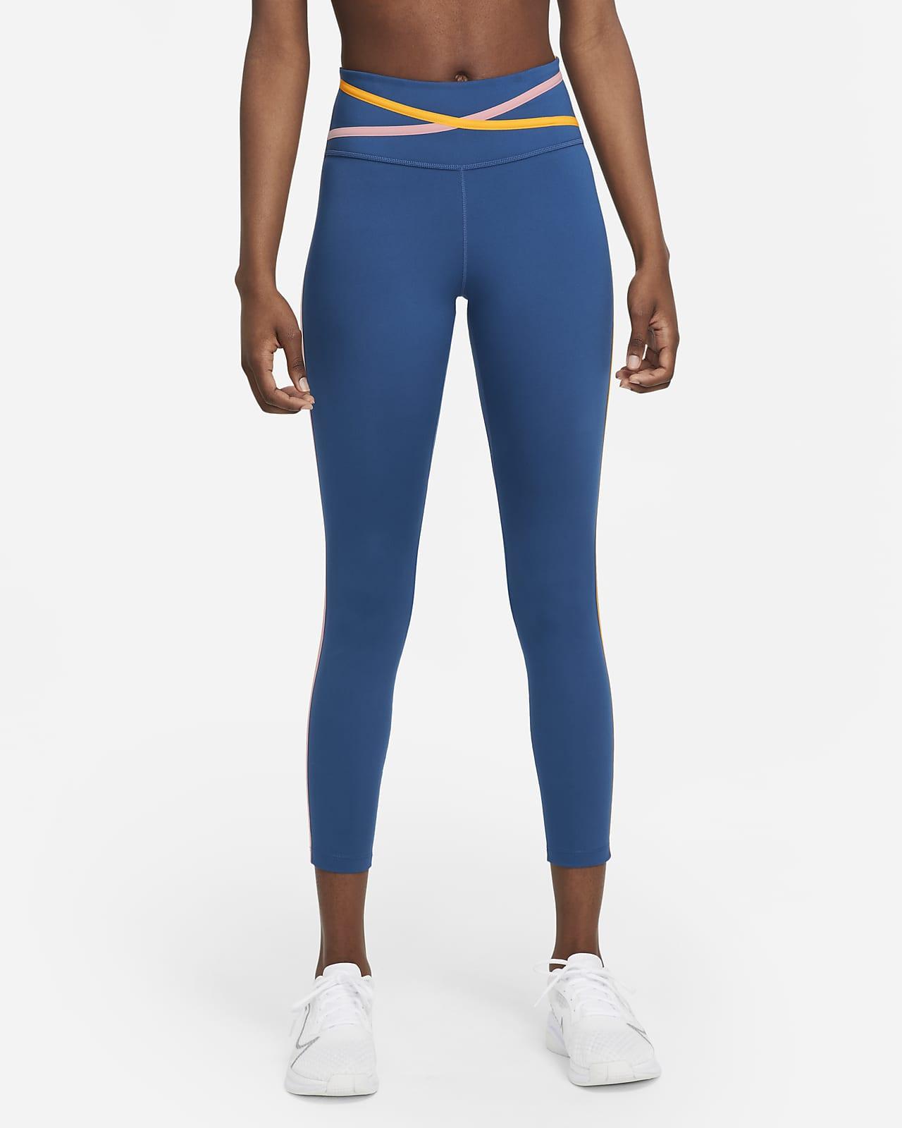 Nike Dri-FIT One leggings i 7/8 lengde med mellomhøyt liv og tape til dame