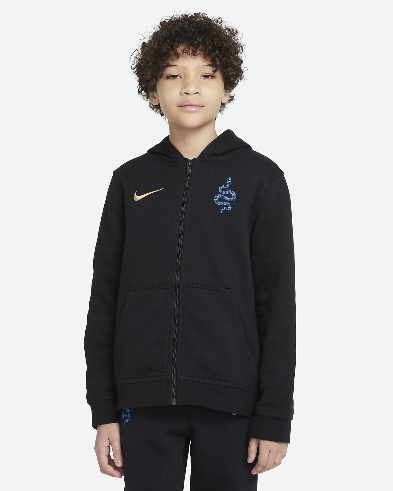 Inter Mailand Fleece-Hoodie mit durchgehendem Reißverschluss für ältere Kinder
