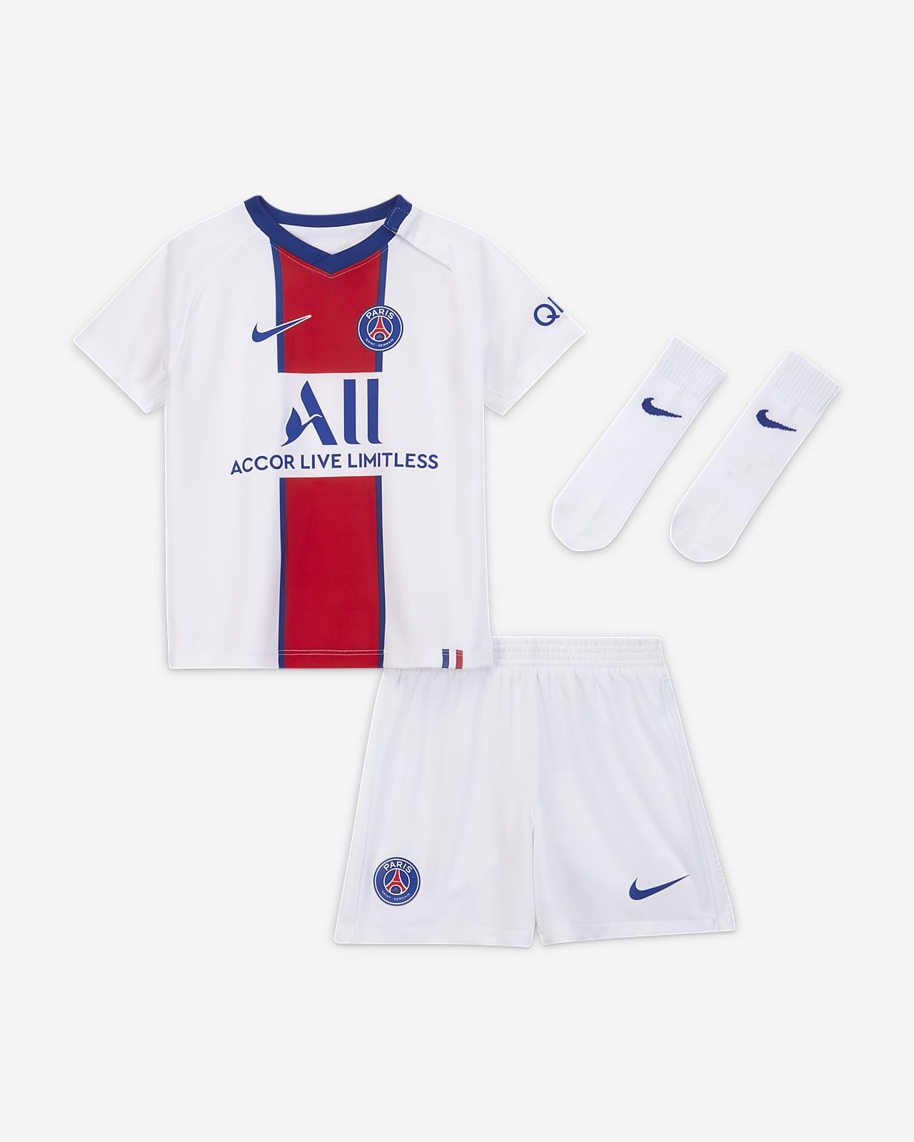 Paris Saint-Germain 2020/21 (bortedrakt) fotballsett til sped-/småbarn