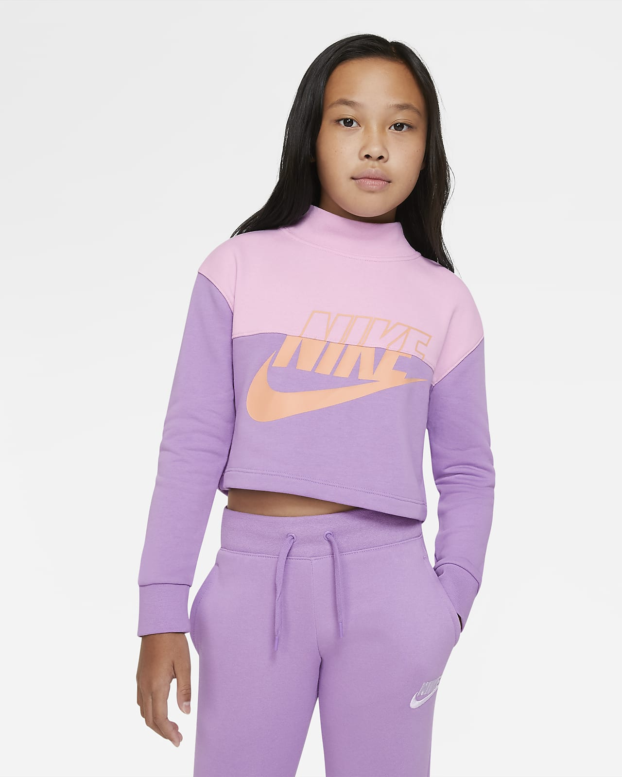 Maglia a girocollo corta in French Terry Nike Sportswear - Ragazza