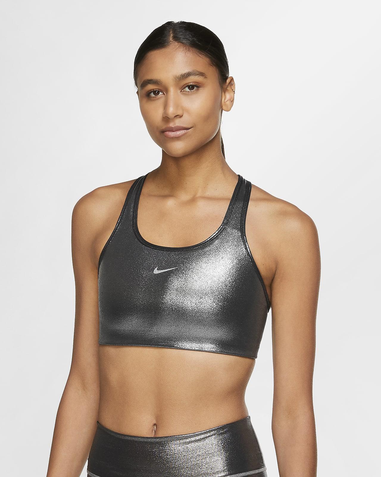 Bra luccicante a sostegno medio con imbottitura monopezzo Nike Swoosh Icon Clash - Donna