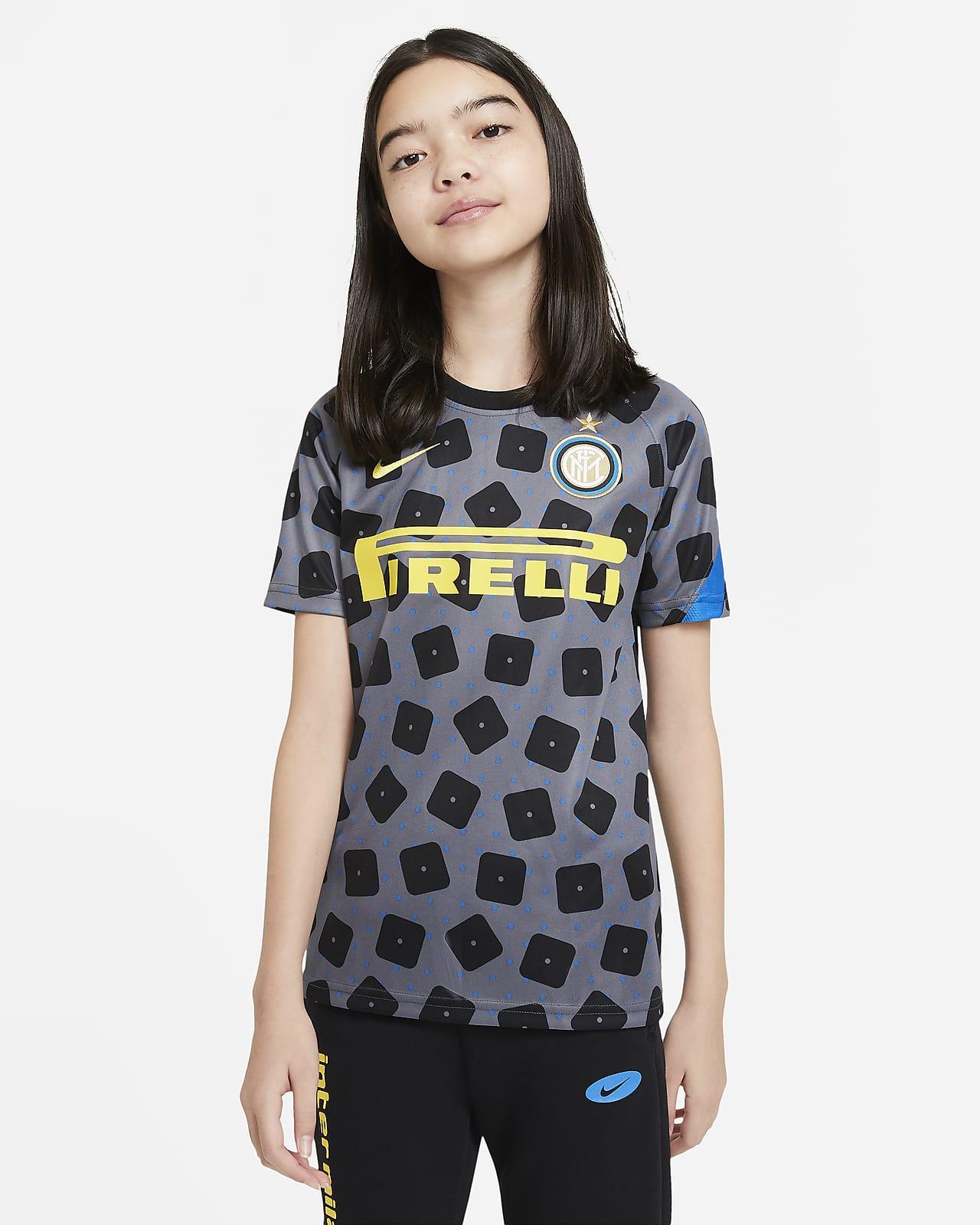 Camiseta de fútbol de manga corta para antes del partido para niños talla grande del Inter de Milán