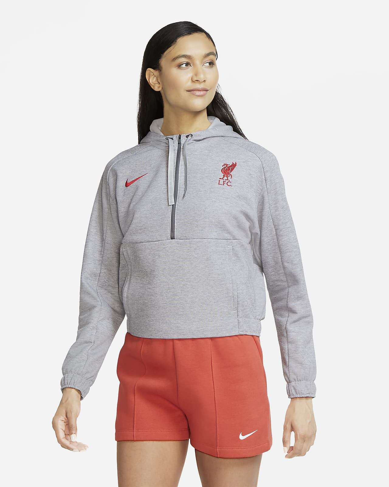 Sweat à capuche de football court à demi-zip Liverpool FC pour Femme