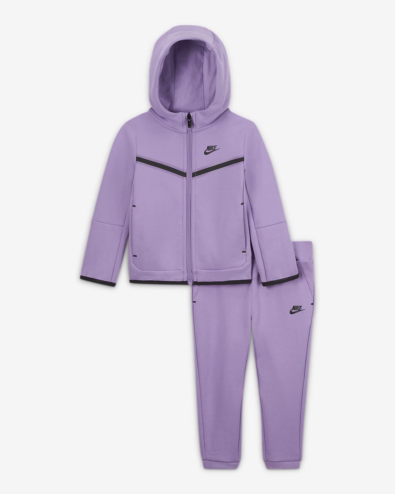 Σετ μπλούζα με κουκούλα και φερμουάρ και παντελόνι Nike Sportswear Tech Fleece για βρέφη (12-24M)