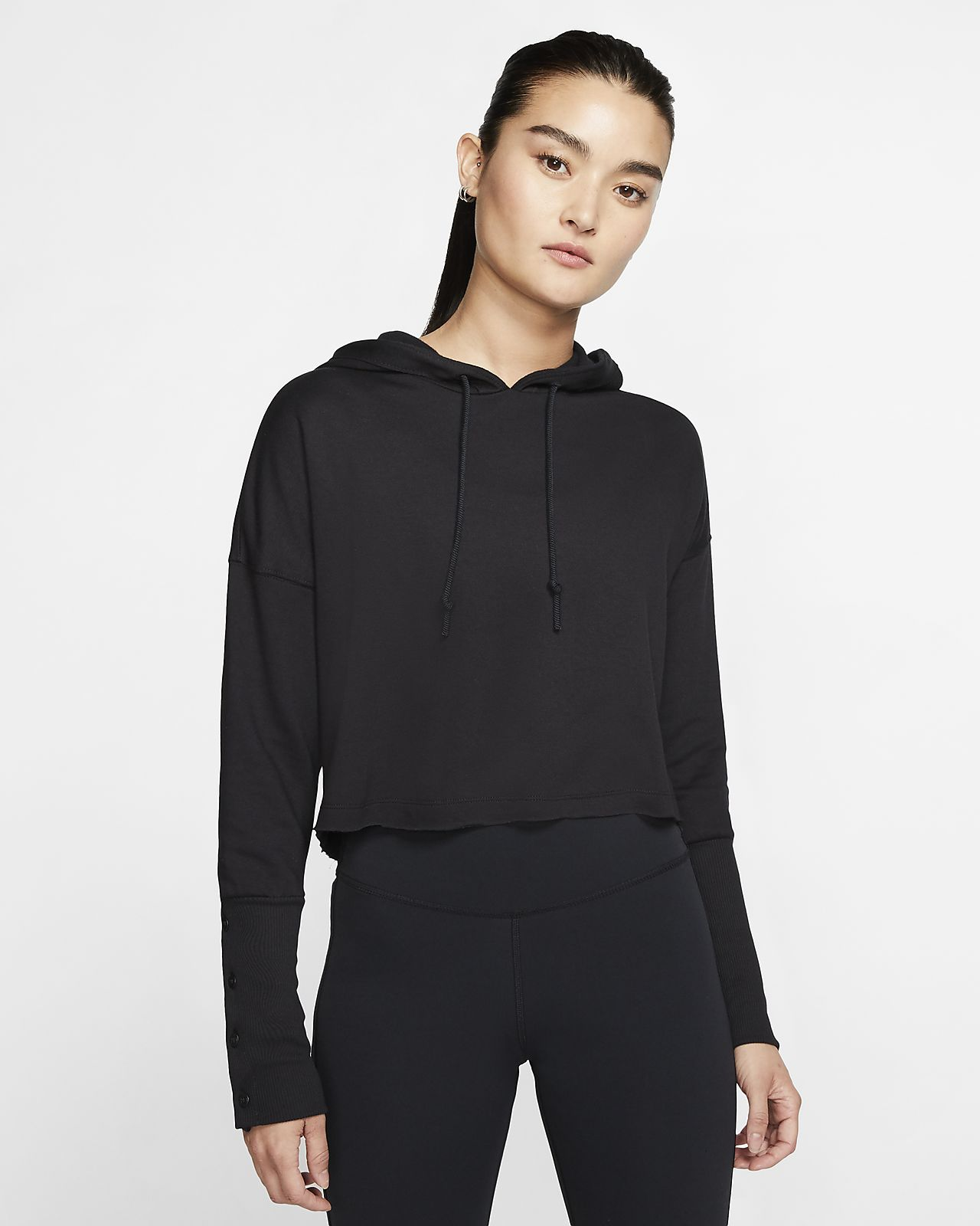 Damska skrócona bluza z kapturem Nike Yoga Luxe
