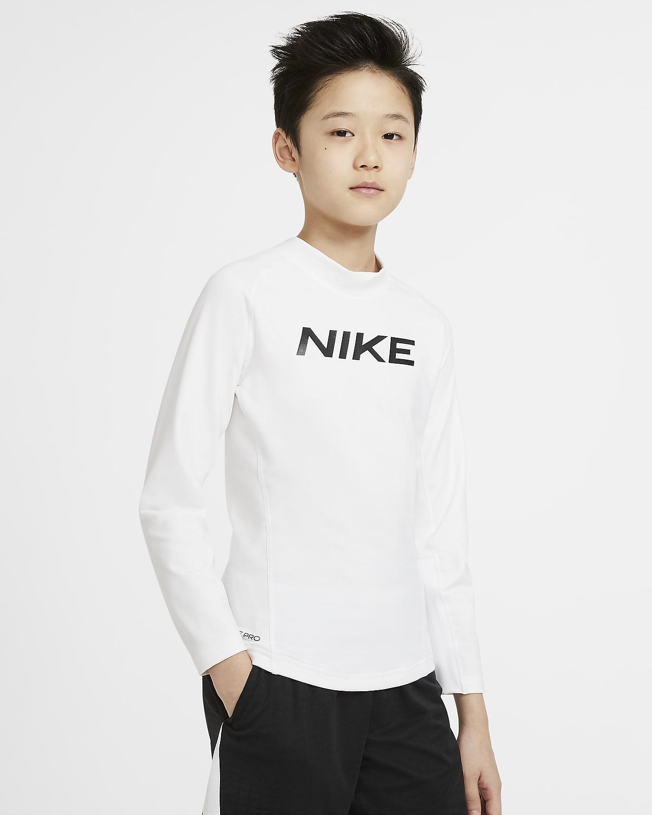Nike Pro Warm 大童(男孩)印花长袖训练上衣
