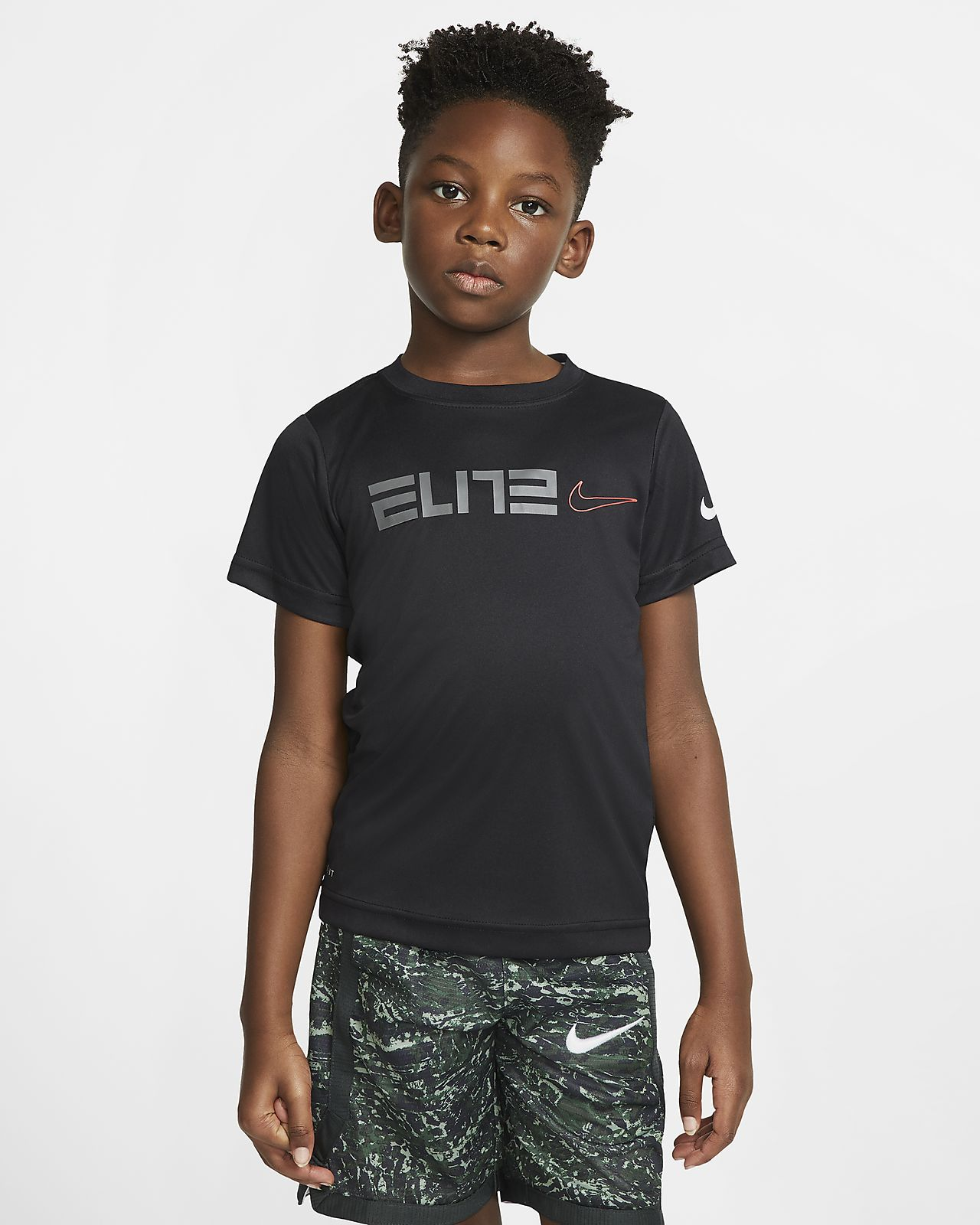 Playera de manga corta para niños talla pequeña Nike Dri-FIT Elite