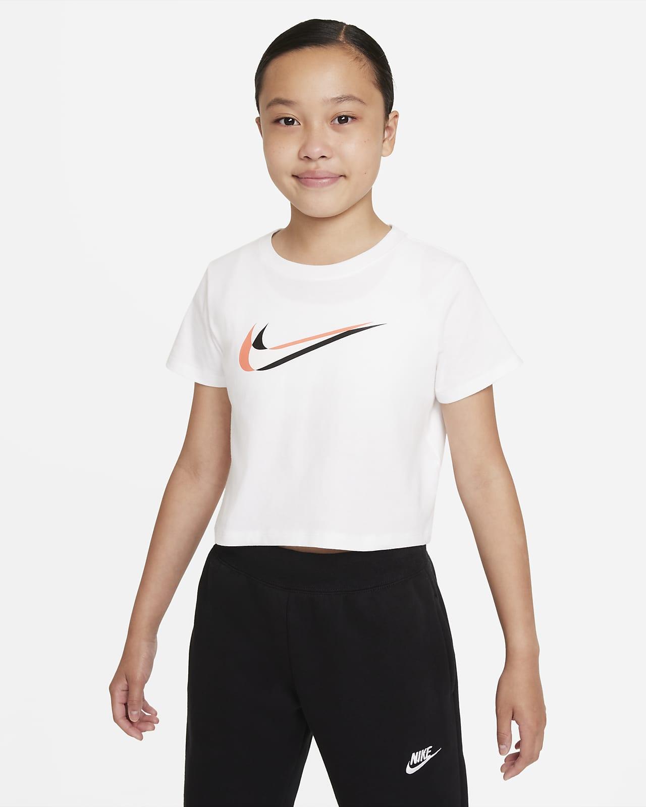 Playera recortada de baile para niña talla grande Nike Sportswear