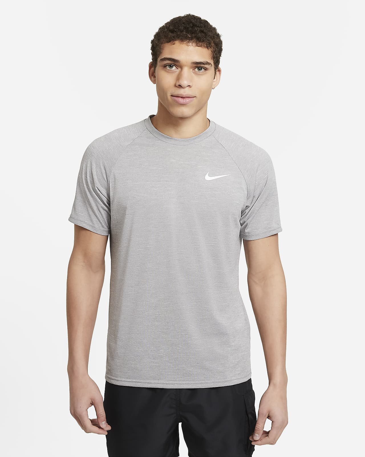 Nike Men's Heathered Short-Sleeve Hydroguard Swim Shirt