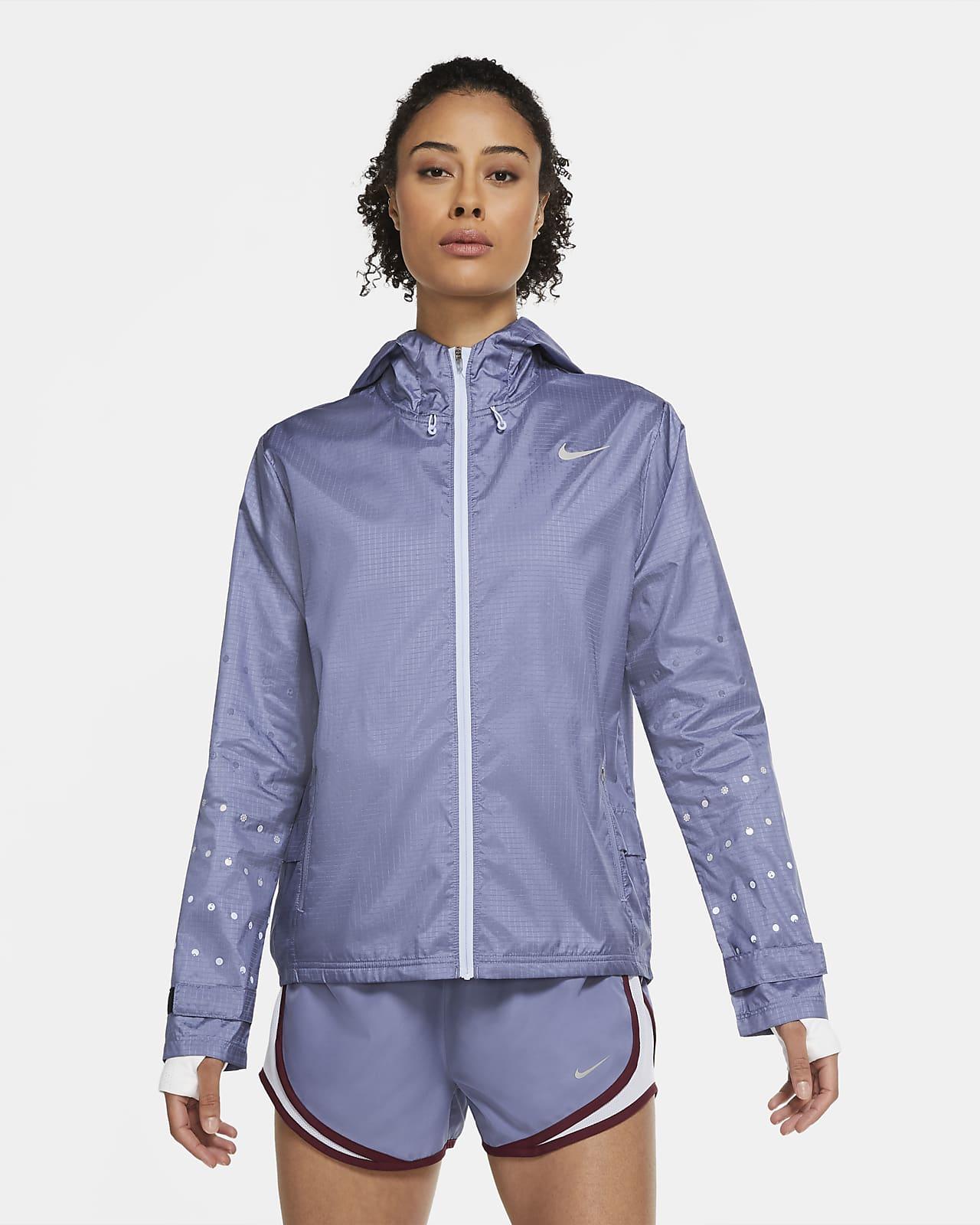 Dámská běžecká bunda skapucí Nike Essential Flash