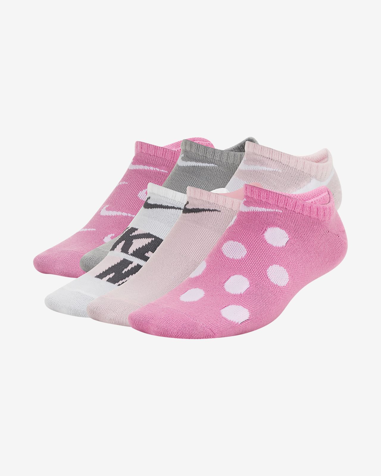 Nike Everyday Older Kids' Lightweight Graphic No-Show Socks (6 Pairs)