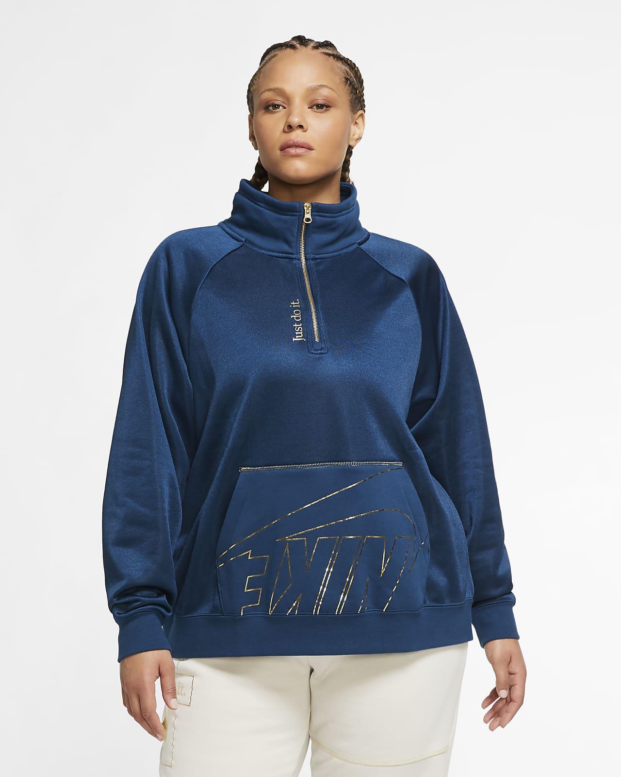 Prenda con cierre de 1/4 de tejido Fleece para mujer Nike Sportswear (talla grande)