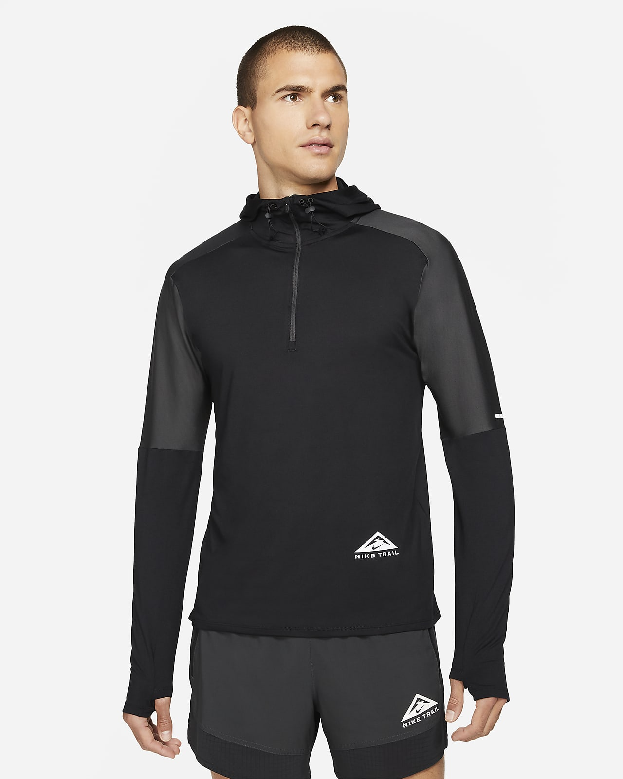 Camisola de running para trilhos com fecho até meio Nike Dri-FIT Trail Element para homem