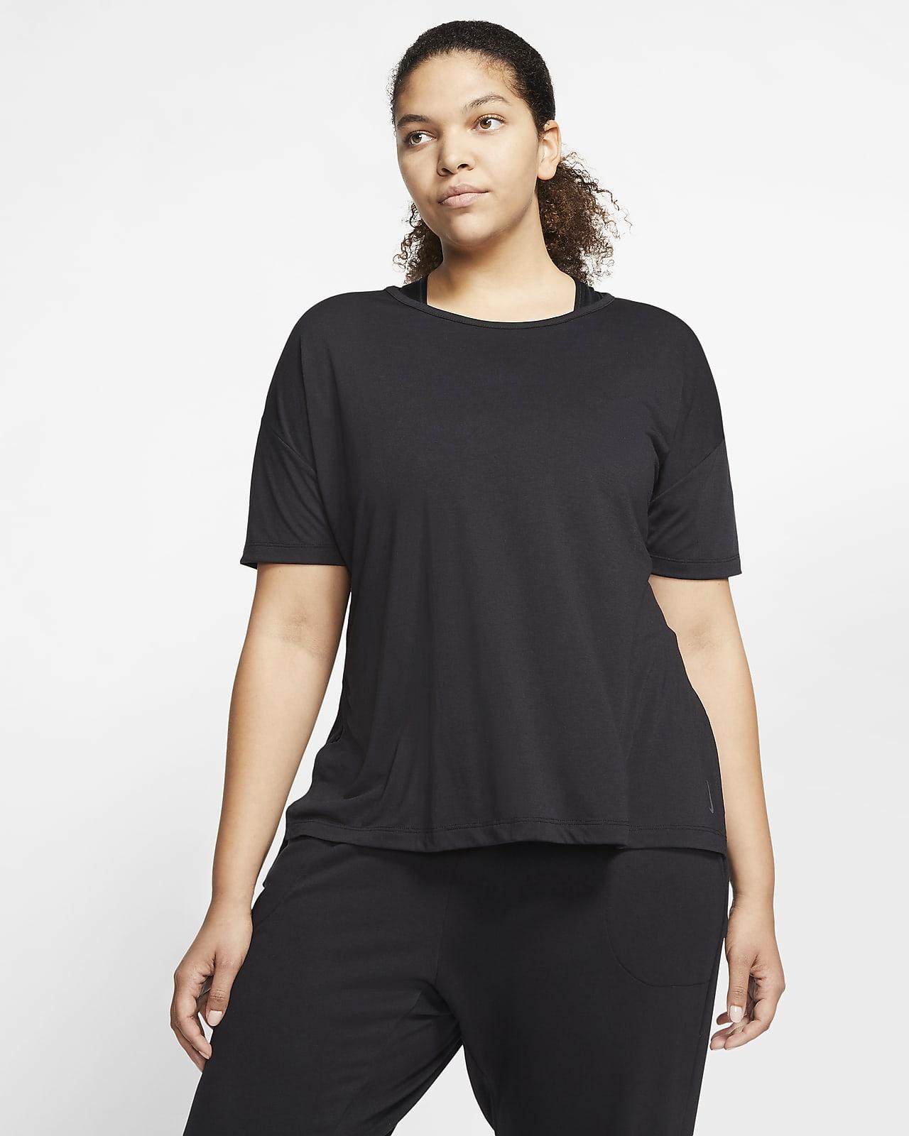 Kortärmad tröja Nike Yoga för kvinnor (stora storlekar)