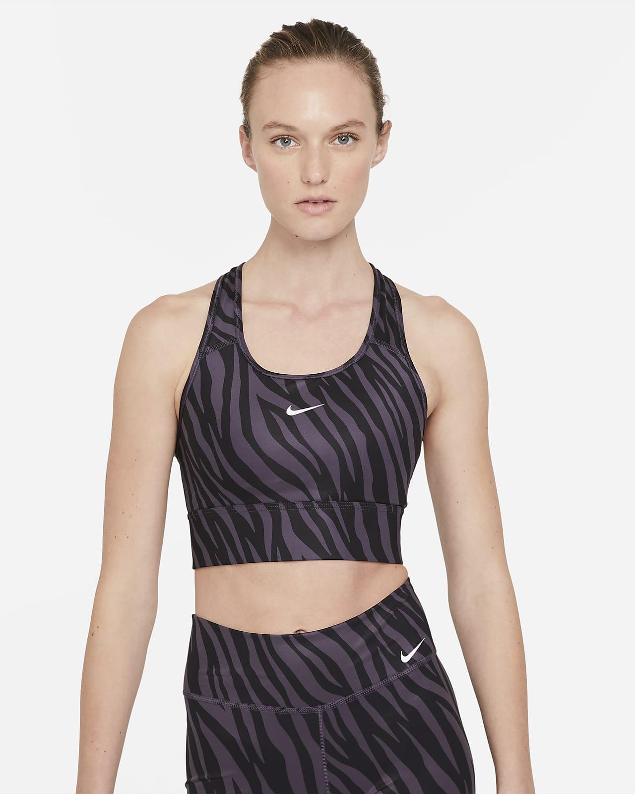 Nike Dri-FIT Swoosh Icon Clash Orta Destekli Tek Parça Pedli Uzun Kadın Spor Sütyeni