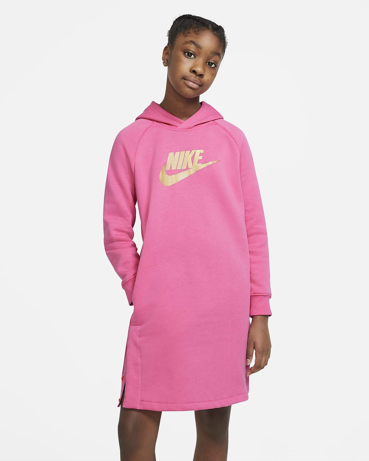 Mikinové šaty skapucí Nike Sportswear pro větší děti (dívky)