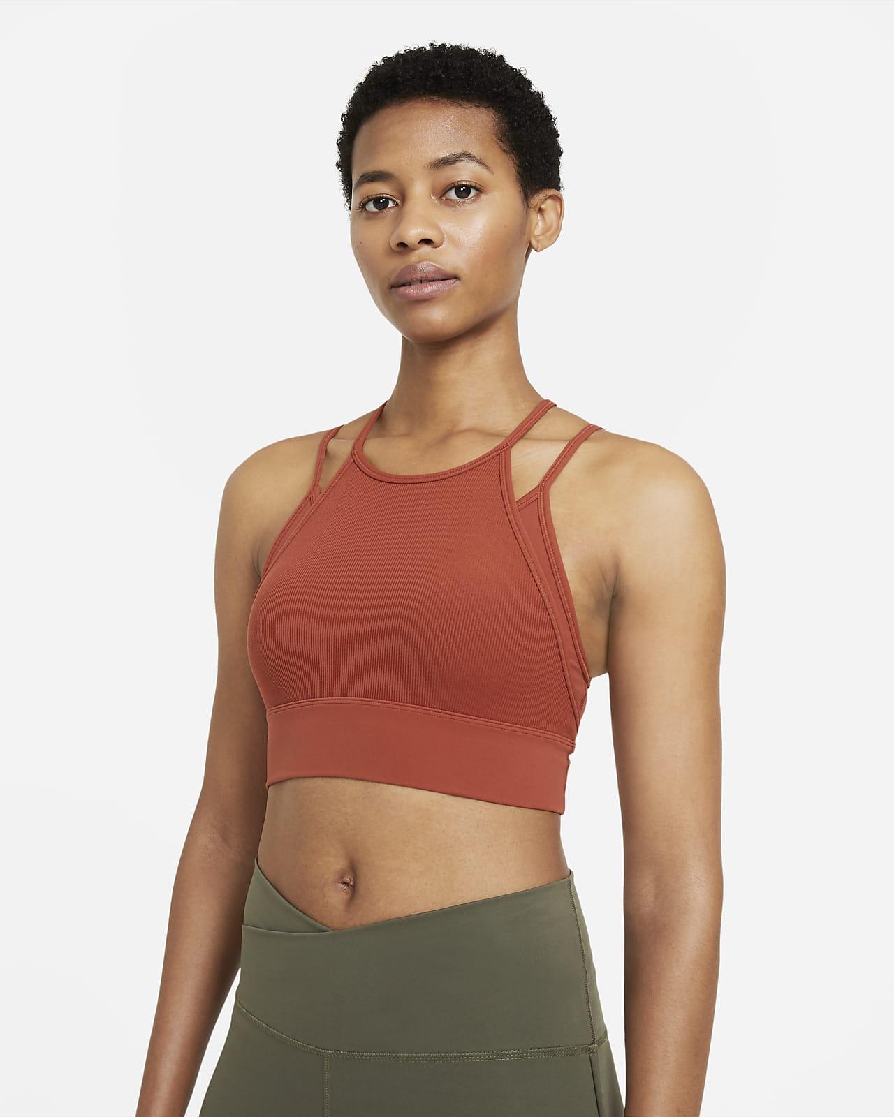 Sujetador deportivo acolchado de sujeción ligera de líneas largas para mujer Nike Yoga Dri-FIT Indy