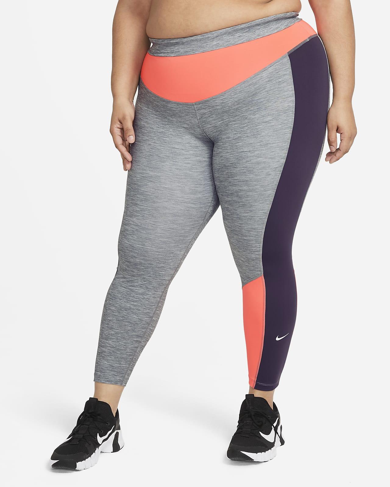 Leggings con bloques de color jaspeado de 7/8 para mujer Nike One (talla grande)