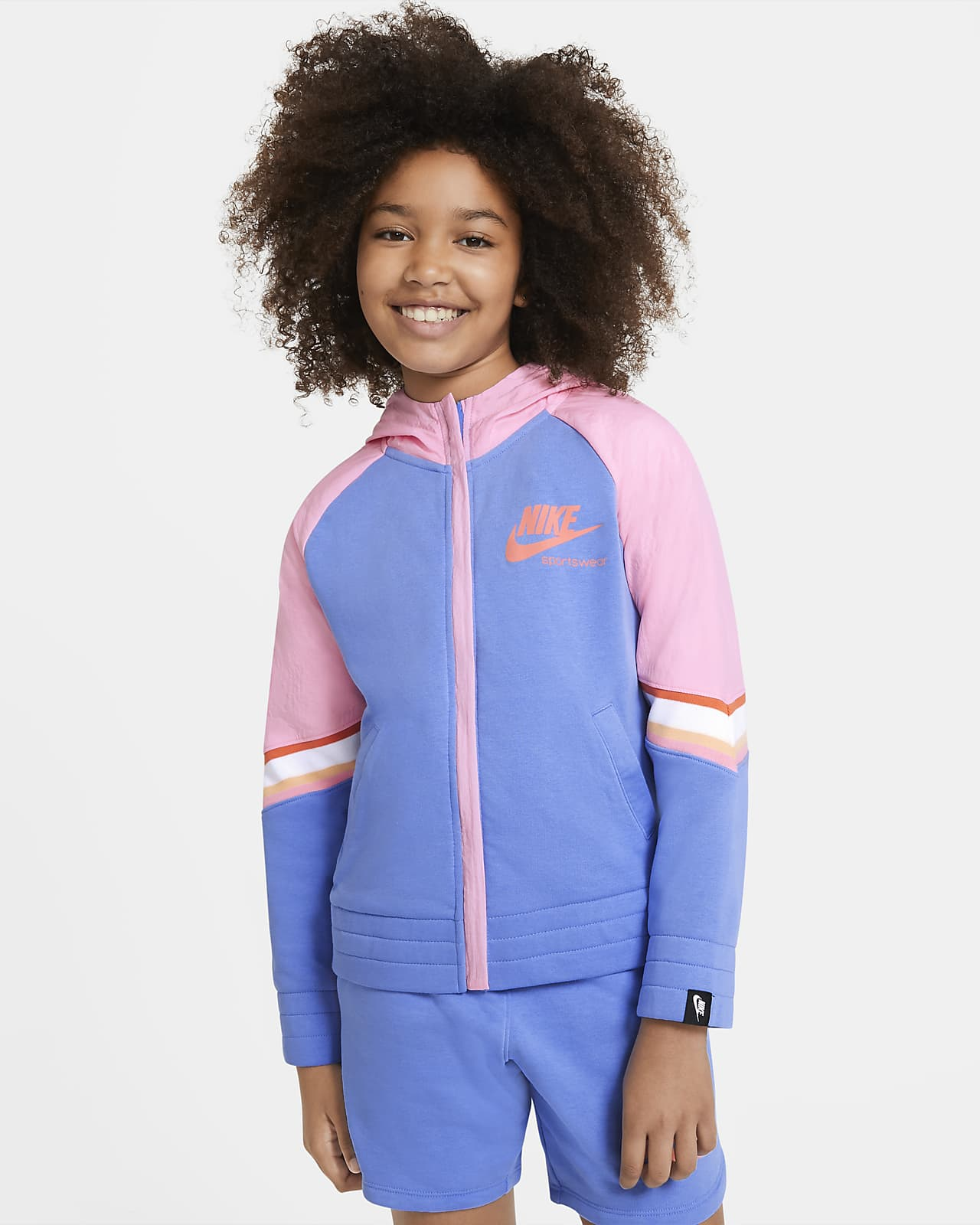 Nike Sportswear Heritage 大童 (女童) 全長式拉鍊連帽上衣