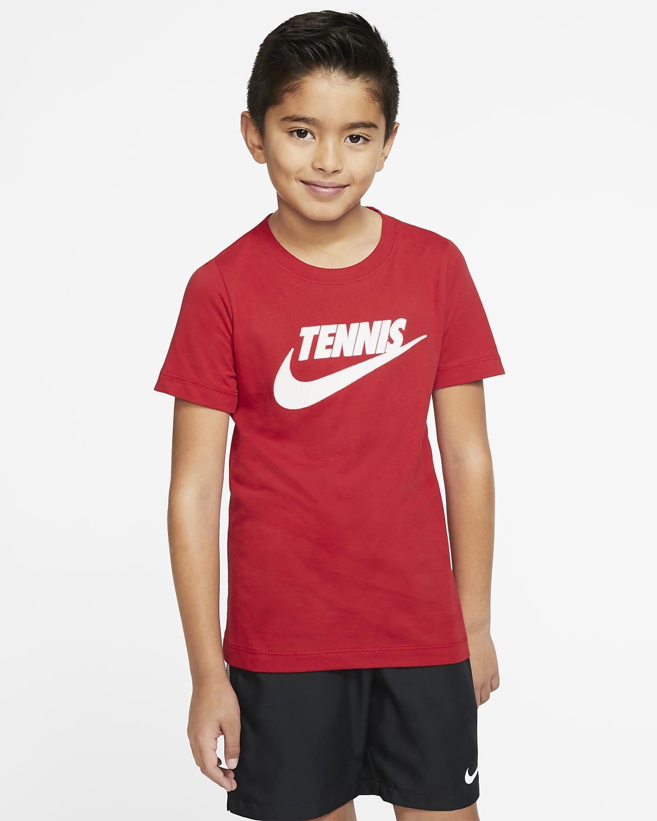 T-shirt do tenisa dla dużych dzieci (chłopców) z nadrukiem NikeCourt Dri-FIT