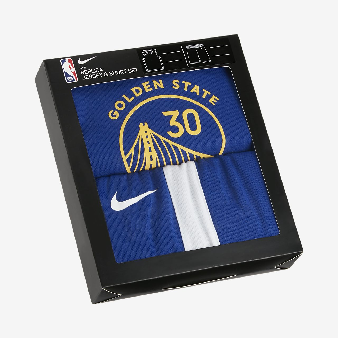 Conjunto de camisola e calções NBA Nike Warriors Replica para bebé
