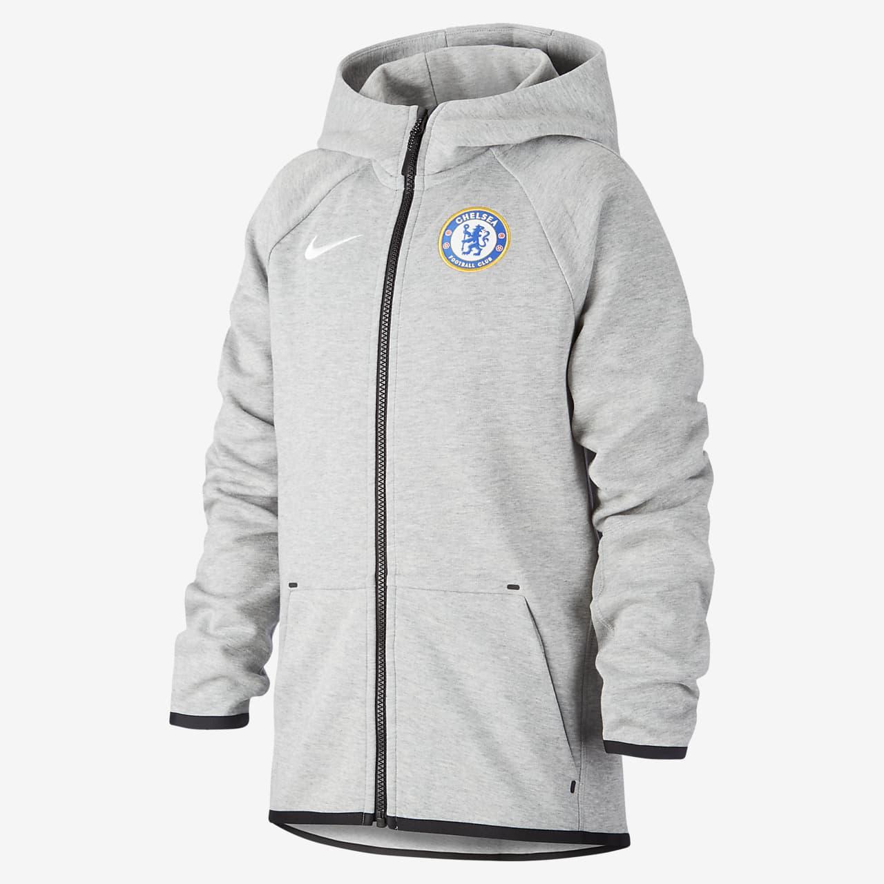 Sudadera con capucha de cierre completo para fútbol para niños talla grande Chelsea FC Tech Fleece