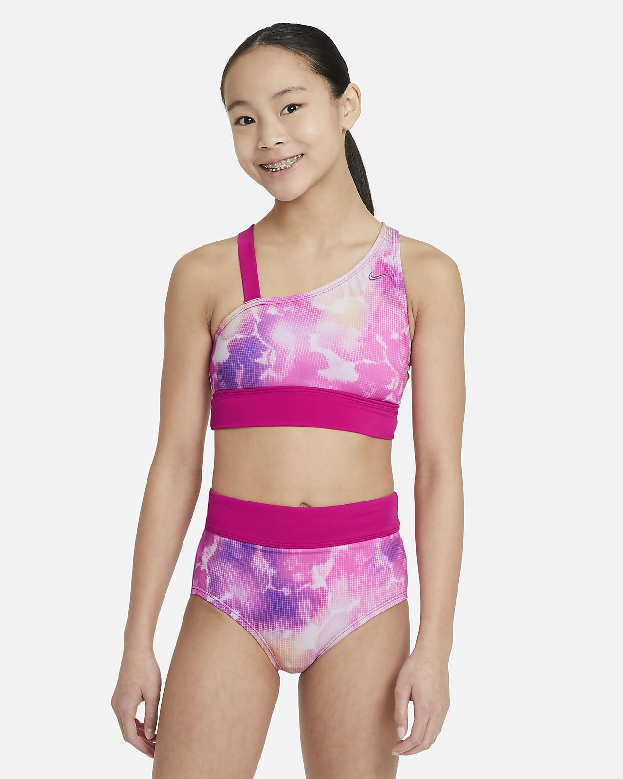 Nike Big Kids' (Girls') Asymmetrical Top and High-Waisted Bikini