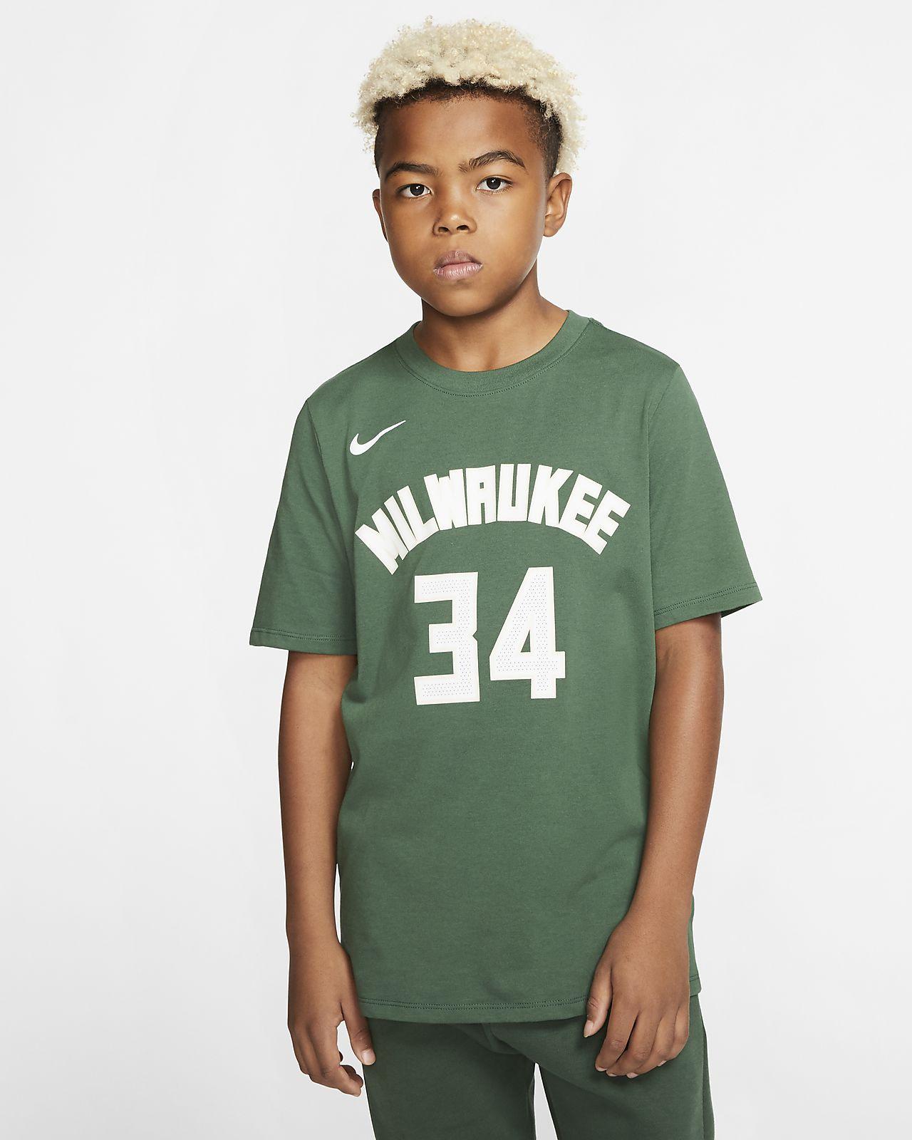 Nike Icon NBA Bucks (Antetokounmpo) – basketball T shirt til store børn (drenge)
