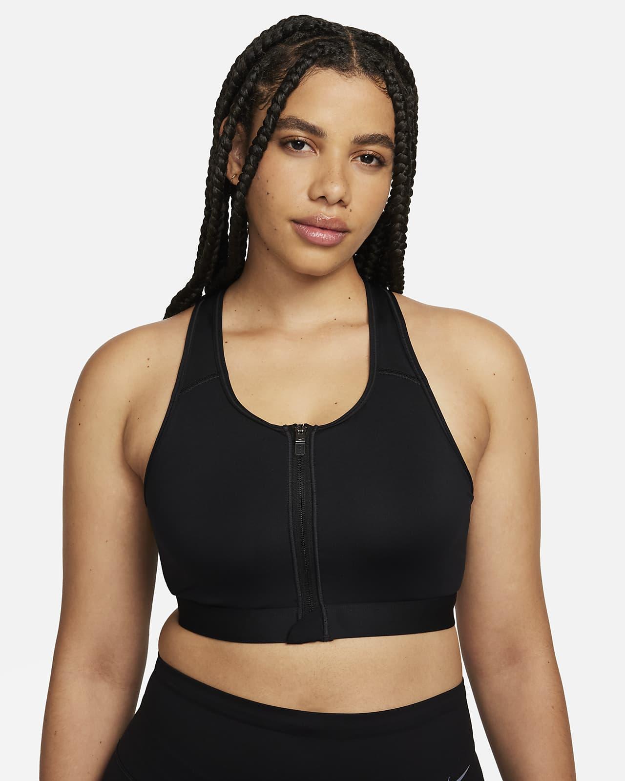 Dámská sportovní podprsenka Nike Dri-FIT Swoosh svycpávkami, střední oporou azipem vpředu