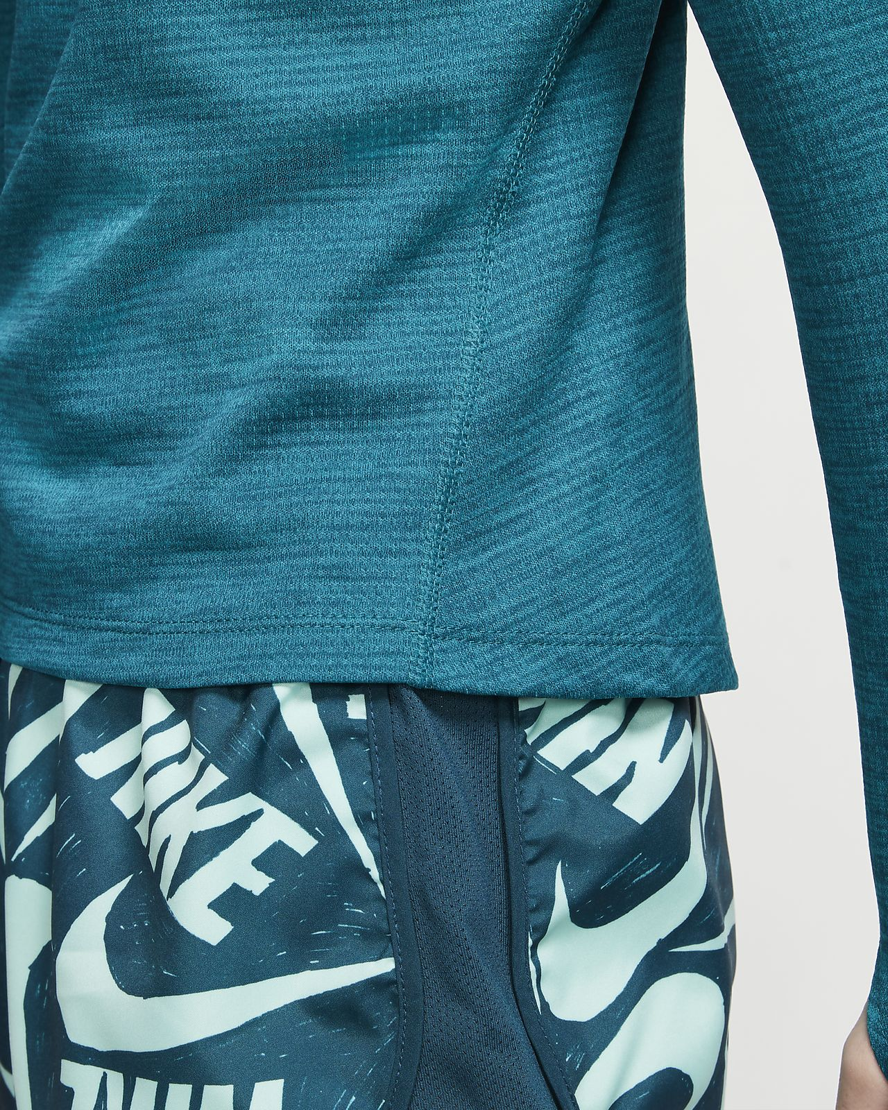 Nike Therma Men/'s Midnight Turquoise Blue Logo Print Pullover Hoodie