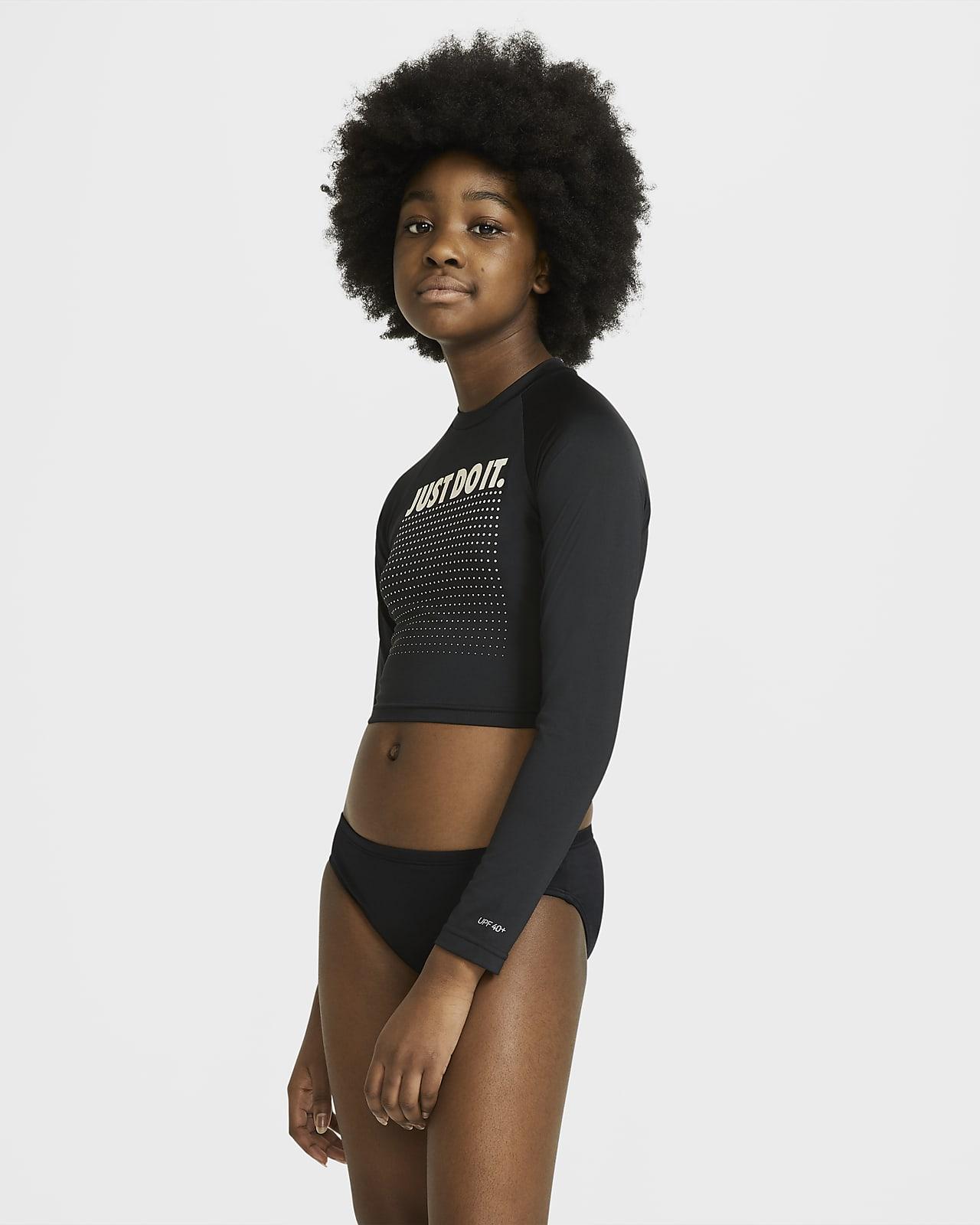 Nike JDI Big Kids' (Girls') Long-Sleeve Cropped Hydroguard Swim Shirt
